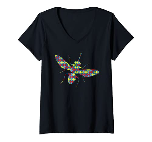 Womens Fly Autism Awareness Kids Housefly Puzzle Day Mom Gift V Neck T Shirt