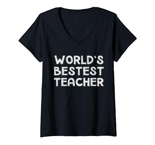 Womens Gift For Teacher From Students   World's Bestest Teacher V Neck T Shirt