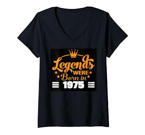 Womens Vintage Legends Were Born In 1975 Fun Birthday Gift V Neck T Shirt