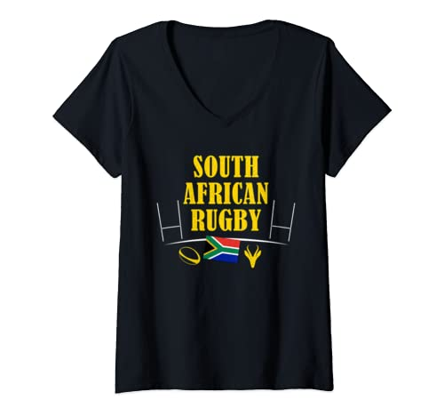Womens South African Rugby Springbok Bokke Africa Flag V Neck T Shirt
