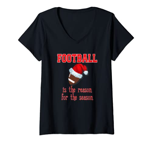 Womens Football Is The Reason For The Season Women Print Casual V Neck T Shirt