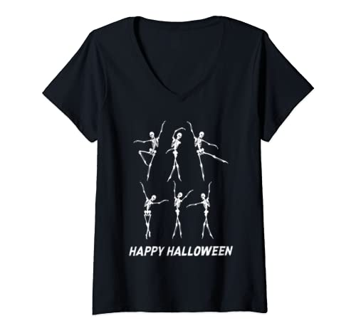 Womens Happy Halloween Funny Skeleton Skull Dancing Funny Dancer V Neck T Shirt
