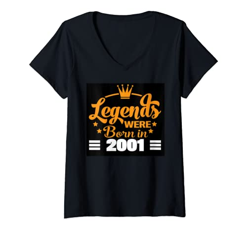 Womens Vintage Legends Were Born In 2001 Fun Birthday Gift V Neck T Shirt