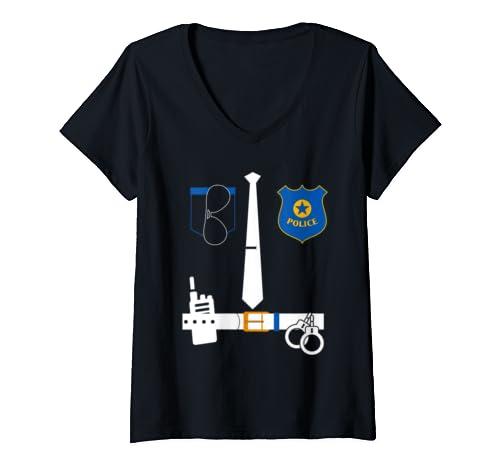 Womens Police Officer Costume Shirt | Police Halloween Gift  V Neck T Shirt