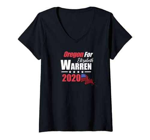 Womens Or Oregon For Elizabeth Warren 2020 President Democrat V Neck T Shirt