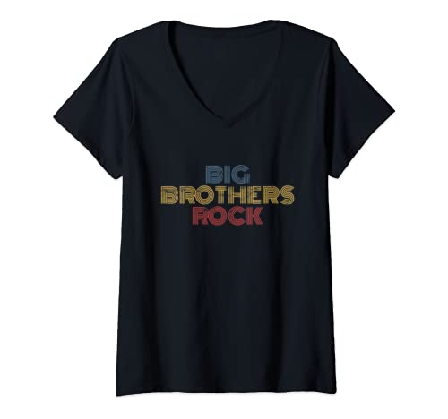 Womens Big Brothers Rock Toddler & Adult Matching Big Brother Gift V Neck T Shirt