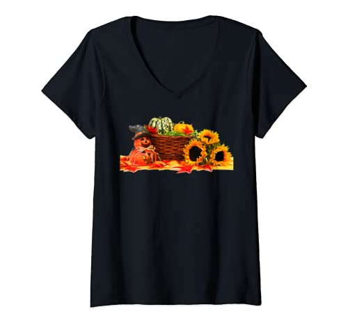 Womens Fall Scene With Sunflowers, Leaves, Pumpkins   No Words V Neck T Shirt