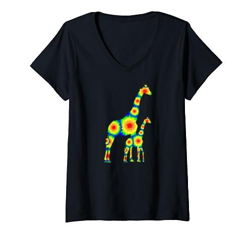 Womens Giraffe Mama Baby Tie Dye Animal Art Graphic V Neck T Shirt