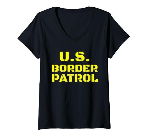 Womens Immigration Customs Enforcement Border Patrol Agent  V Neck T Shirt