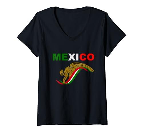 Womens Mexico Eagle V Neck T Shirt