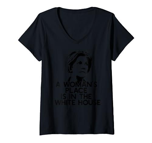 Womens A Woman's Place Is In The White House Elizabeth Warren Meme V Neck T Shirt