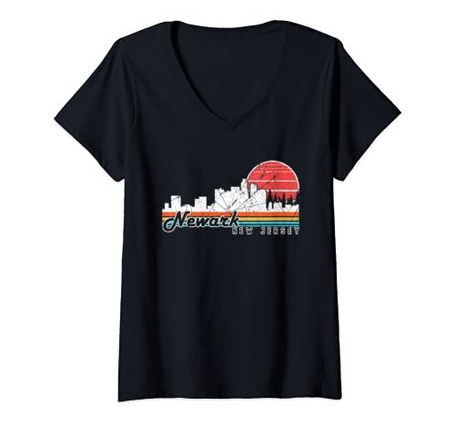 Womens Retro Vintage Newark City New Jersey Graphic Souvenir Gift V Neck T Shirt
