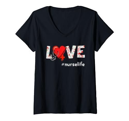Womens Nurse Life Nursing Clinical V Neck T Shirt
