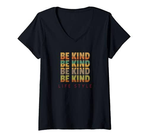 Womens Be Kind Retro Inspiration Gift Human Kind Peace V Neck T Shirt