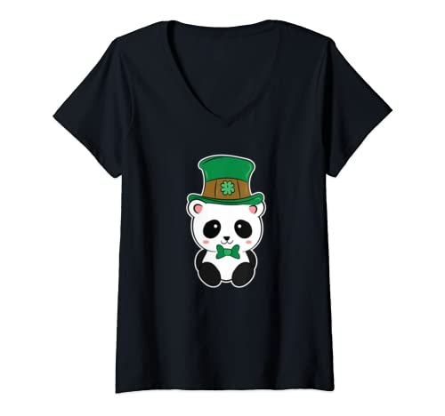 Womens Panda Leprechaun St. Patrick's Day Gift V Neck T Shirt