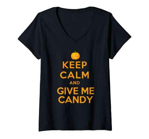 Womens Keep Calm And Give Me Candy    Cool Halloween  V Neck T Shirt