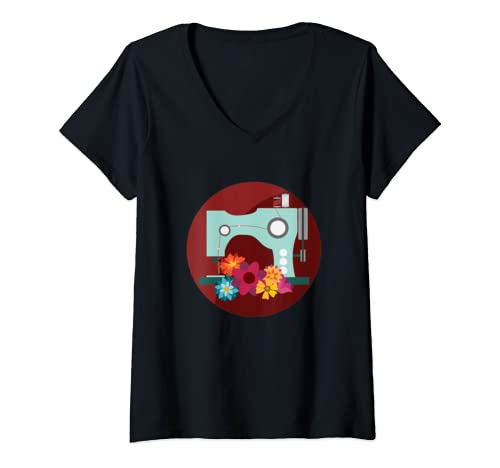 Womens Quilting Machine Sewing Machine Seamstress V Neck T Shirt
