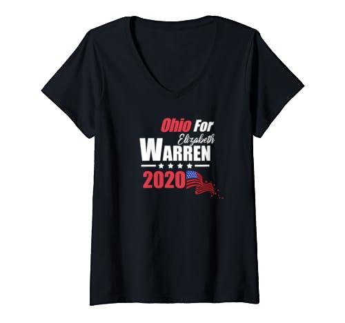 Womens Oh Ohio For Elizabeth Warren 2020 President Democrat V Neck T Shirt