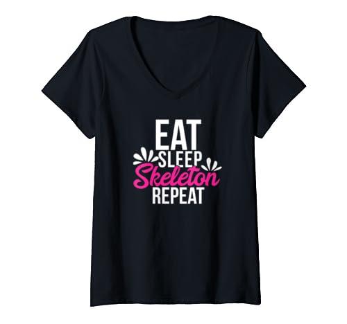 Womens Eat Sleep Skeleton  Repeat Motivational Gift Ace056b V Neck T Shirt