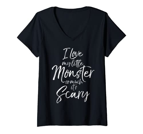 Womens Halloween Mom I Love My Little Monster So Much It's Scary V Neck T Shirt