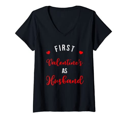Womens First Valentine's As A Husband Married Couple Gift V Neck T Shirt