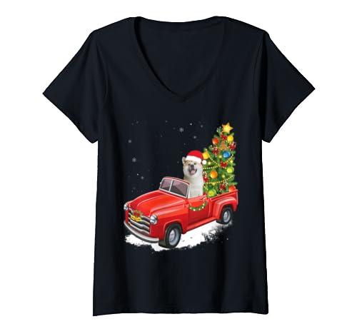 Womens Akita Inu Merry Christmas Dog Shirt Christmas Tree Cute Gift V Neck T Shirt