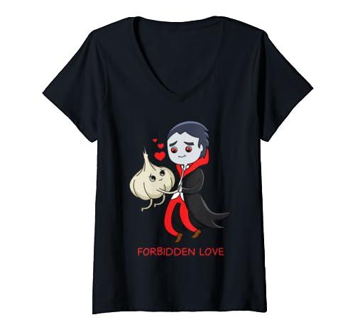 Womens Vampire Loves Garlic Funny Lover Valentines Day V Neck T Shirt