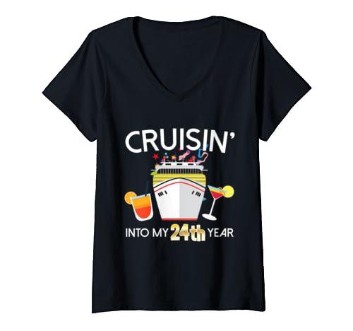 Womens 24th Birthday Cruise Ship V Neck T Shirt