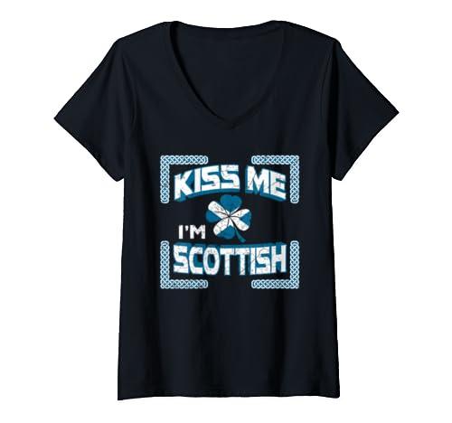 Womens Kiss Me Iam Scottish Funny Scotland Roots Vintage V Neck T Shirt