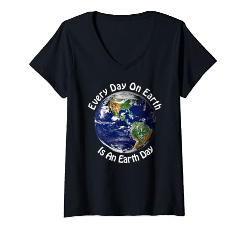 Womens Every Day On Earth Is An Earth Day - Environmental V-Neck T-Shirt