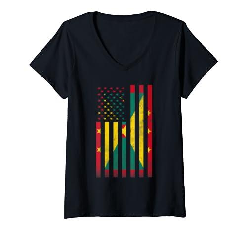 Womens Half Grenadian Flag | Vintage American Inside Me Usa Gift V Neck T Shirt