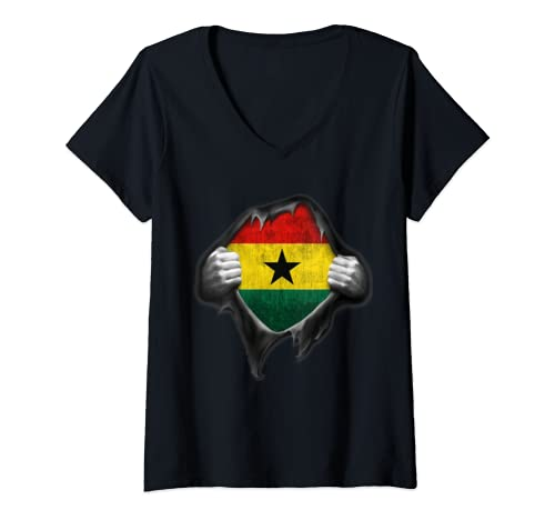 Womens Ghana Flag Ghanaian V Neck T Shirt