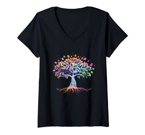 Womens Colorful Life Is Really Good Vintage Unique Tree Art Gift V Neck T Shirt