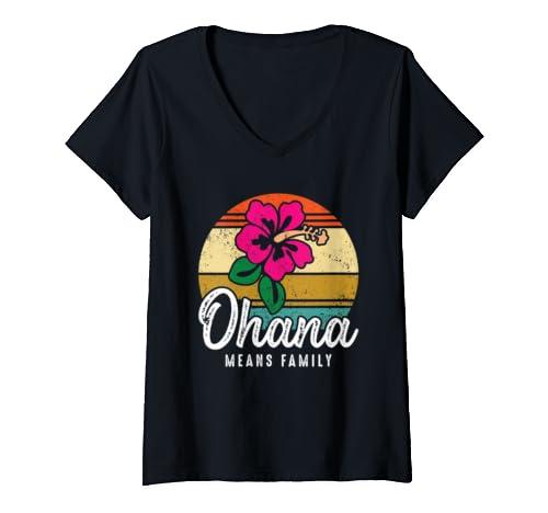 Womens Hawaiian Ohana Means Family Hawaii Vacation Souvenir Gift V Neck T Shirt