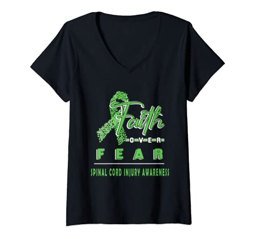 Womens With Spinal Cord Injury Awareness Faith Always Overs Fear V Neck T Shirt