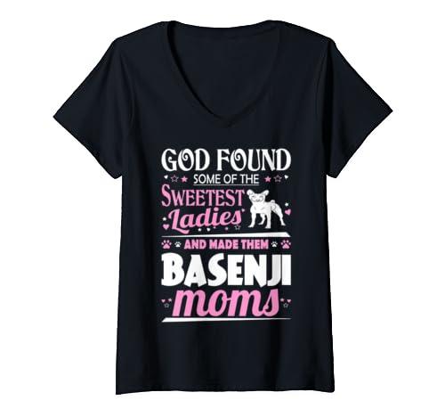 Womens God Found Sweetest Ladies Made Them Basenji Moms V Neck T Shirt