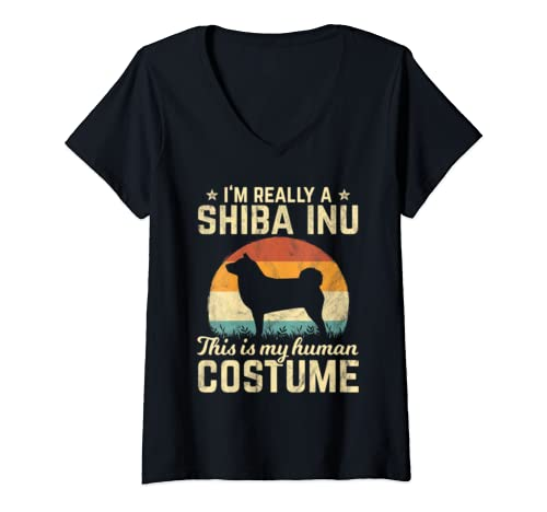 Womens Retro Vintage Silhouette Shiba Inu Dog Halloween Costume 70s V Neck T Shirt