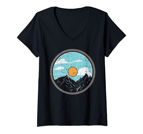 Womens Mountain Bike Wheel Sun Retro Mtb Bicycle Cyclist Biker Gift V Neck T Shirt