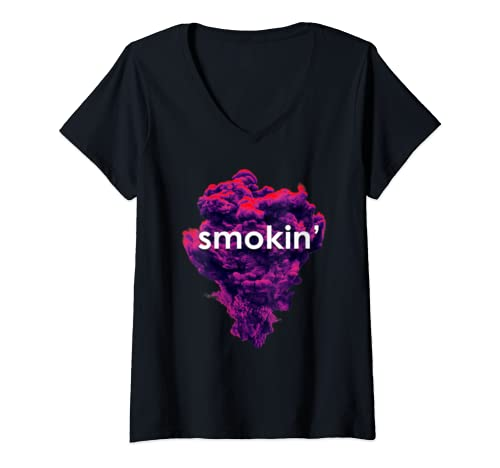 Womens Smokin Weed Marijuana Bud Thc Cannabis Pot V Neck T Shirt
