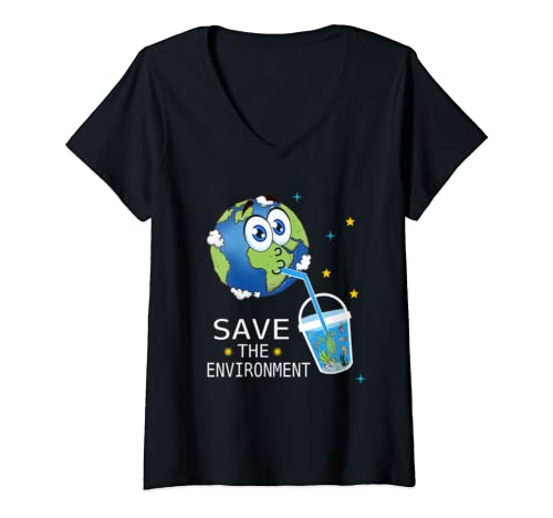Womens Save The Environment Earth Day V Neck T Shirt