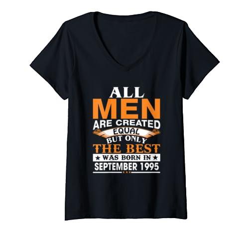 Womens Men The Best Was Born In September 1995 Birthday Gift V Neck T Shirt