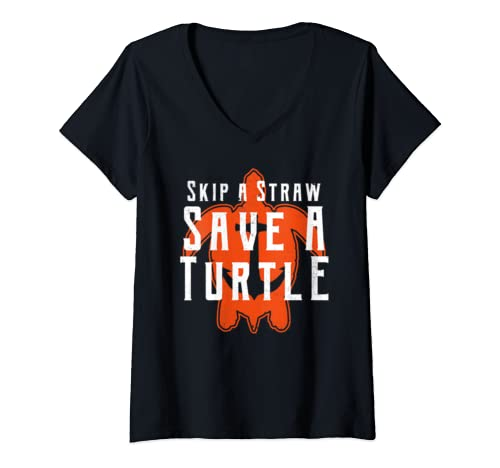 Womens Skip A Straw Save A Turtle Ban Plastic Free Slogan V Neck T Shirt