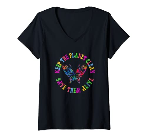 Womens Earth Day Keep The Planet Clean Butterfly  V Neck T Shirt