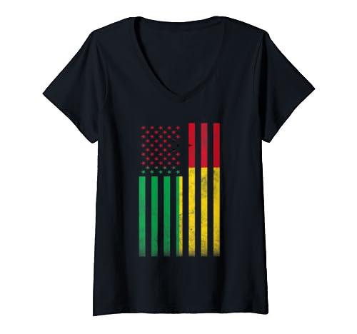Womens Half Guinea Bissaun Flag Vintage American Inside Me Usa Gift V Neck T Shirt