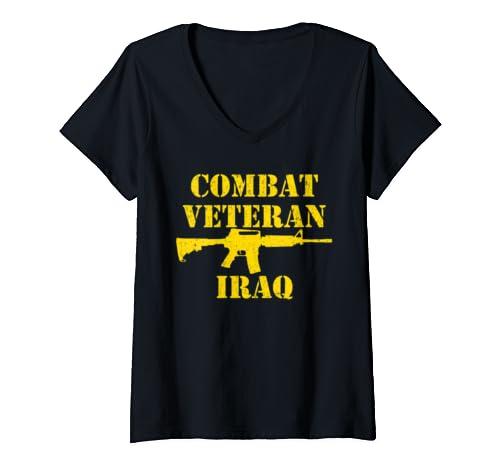 Womens Combat Veteran Iraq Proud Military V Neck T Shirt