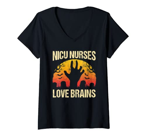 Womens Nicu Nurses Love Brains Retro Halloween Costume Nurse Gift V Neck T Shirt