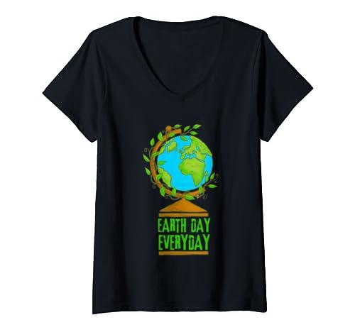 Womens Environmental Shirts Earth Day Everyday V Neck T Shirt