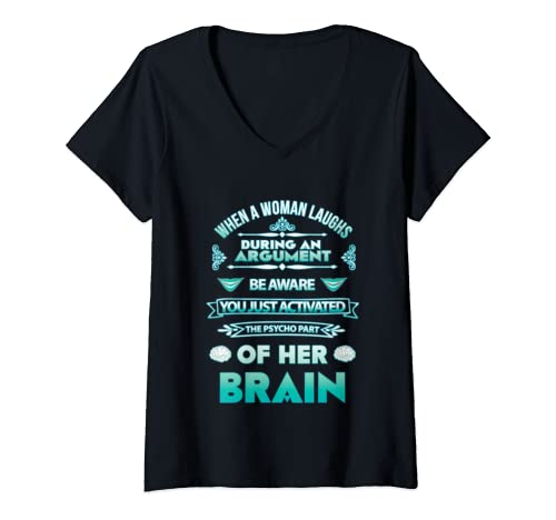 Womens Funny Adult Novelty Womens Humor Gag Gifts Sarcastic Psycho V Neck T Shirt