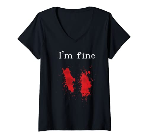 Womens I'm Fine Graphic Zombie Slash Halloween Gift V Neck T Shirt