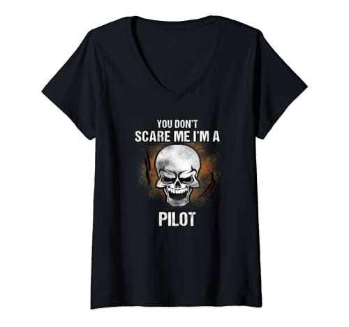 Womens You Don't Scare Me I'm A Pilot   Halloween Costume V Neck T Shirt
